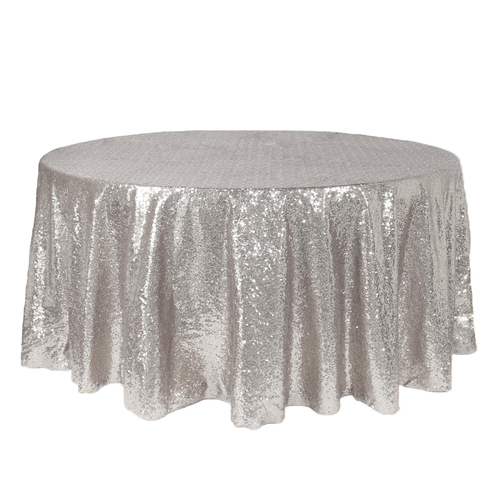 132 inch Round Glitz Sequin Tablecloth Silver