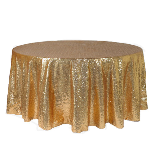 132 inch Round Glitz Sequin Tablecloth Gold