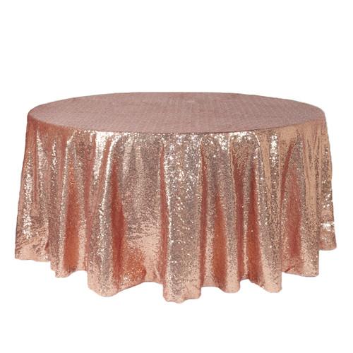 132 inch Round Glitz Sequin Tablecloth Blush
