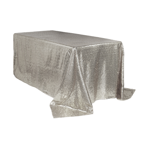 90 x 132 inch Rectangular Glitz Sequin Tablecloth Silver