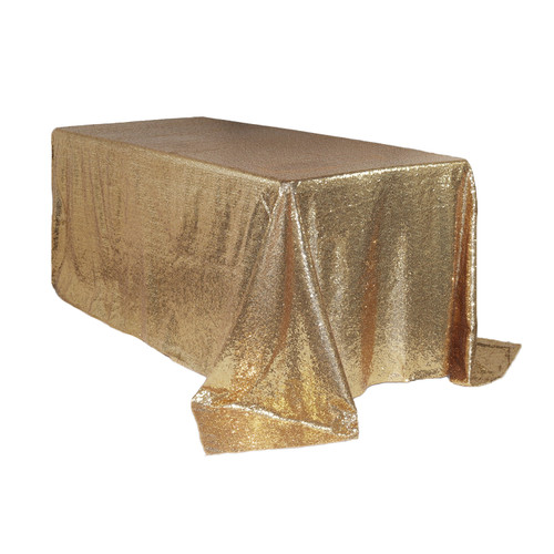 90 x 132 inch Rectangular Glitz Sequin Tablecloth Champagne
