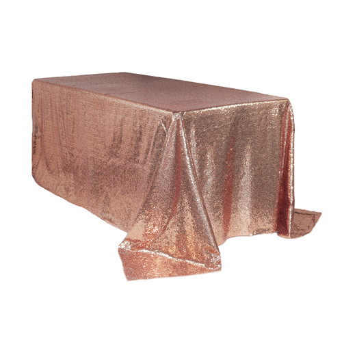 90 x 132 inch Rectangular Glitz Sequin Tablecloth Blush Main