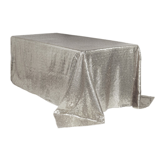 90 x 156 inch Rectangular Glitz Sequin Tablecloths Silver Main