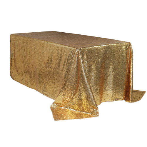 90 x 156 inch Rectangular Glitz Sequin Tablecloths Gold Main
