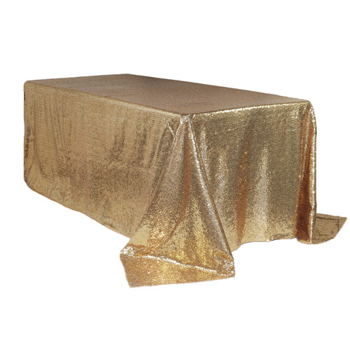 90 x 156 inch Rectangular Glitz Sequin Tablecloths Champagne Main
