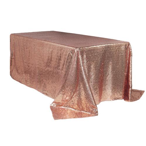 90 x 156 inch Rectangular Glitz Sequin Tablecloths Blush Main