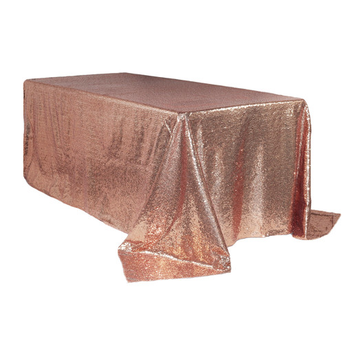 90 x 156 inch Rectangular Glitz Sequin Tablecloths Blush Main