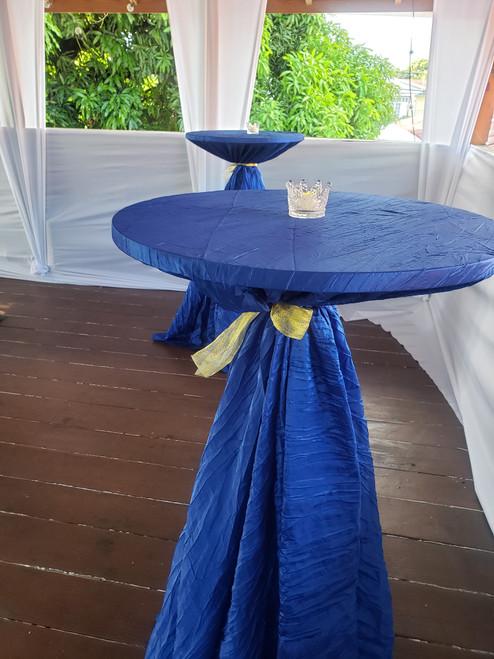 royal blue crinkle taffeta wedding tablecloths