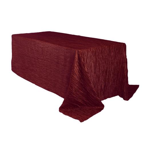 90 x 132 inch Rectangular Crinkle Taffeta Tablecloths Burgundy