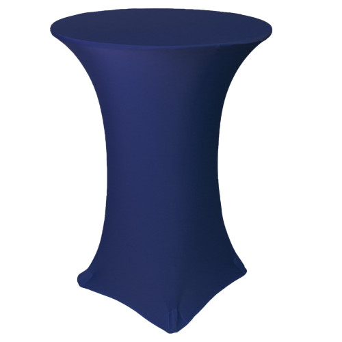 30 Inch Highboy Cocktail Round Stretch Spandex Table Cover Navy Blue