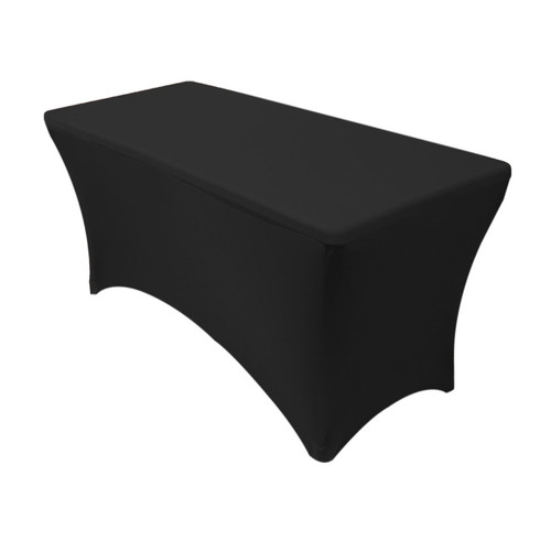 Spandex 4 Ft Rectangular Table Covers Black