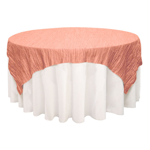 72 inch Square Crinkle Taffeta Table Overlays Coral