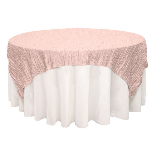 72 inch Square Crinkle Taffeta Table Overlays Blush