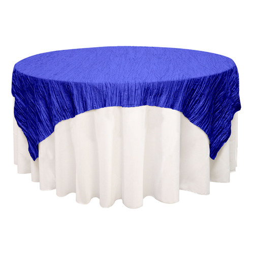 90 inch Square Crinkle Taffeta Table Overlays Royal Blue