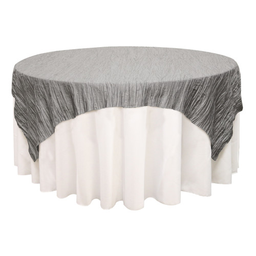 90 inch Square Crinkle Taffeta Table Overlays Dark Silver / Platinum