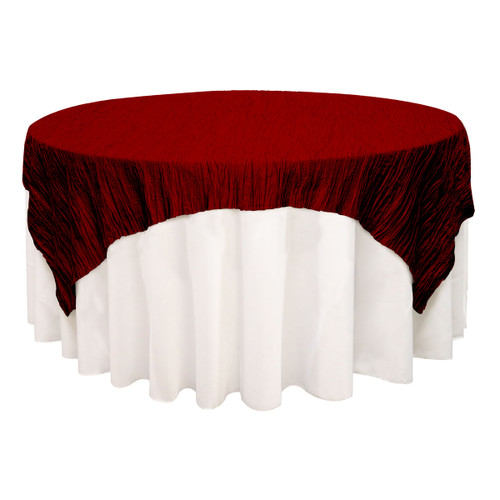 90 inch Square Crinkle Taffeta Table Overlays Burgundy