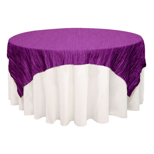 90 inch Square Crinkle Taffeta Table Overlays Purple