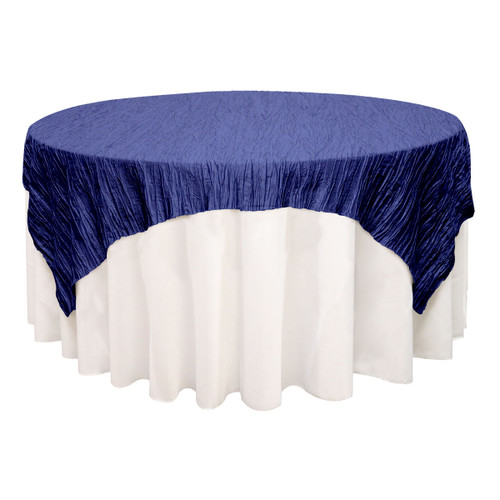 90 inch Square Crinkle Taffeta Table Overlays Navy Blue
