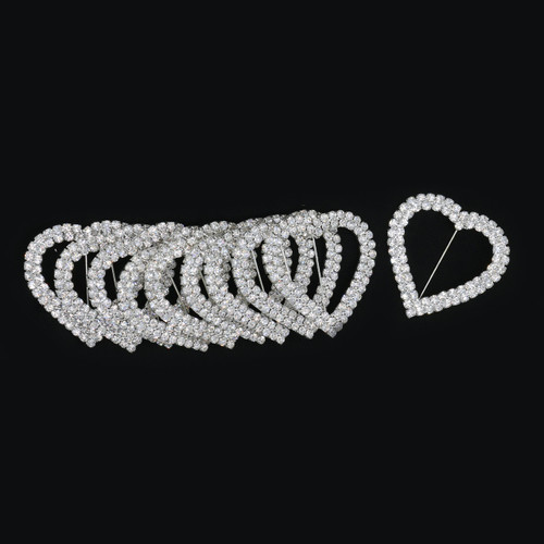 10/pack Heart Rhinestone Chair Sash Buckle Silver