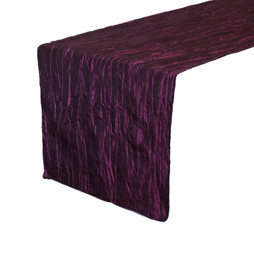14 x 108 Inch Crinkle Taffeta Table Runner Eggplant
