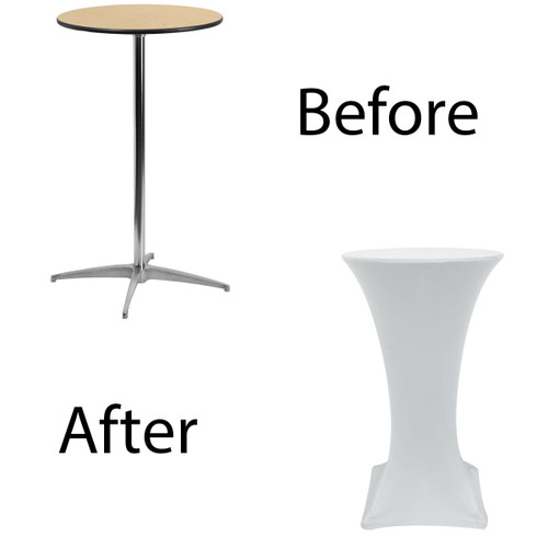 before after spandex table cover 24 inch