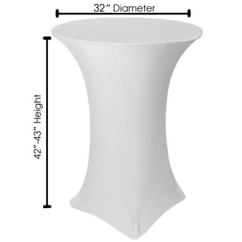 measurements of spandex cocktail table cover 32 inch height