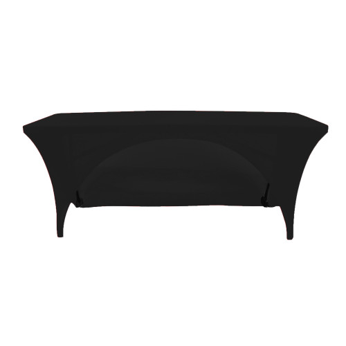 Stretch Spandex 8 Ft Open Back Rectangular Table Covers Black