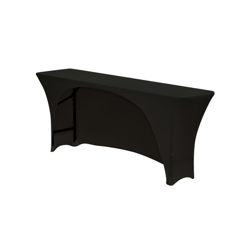 Spandex 6 Ft Open Back Rectangular Table Covers Black
