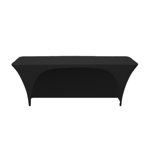 Stretch Spandex 6 ft x 18 Inches Open Back Rectangular Table Cover Black