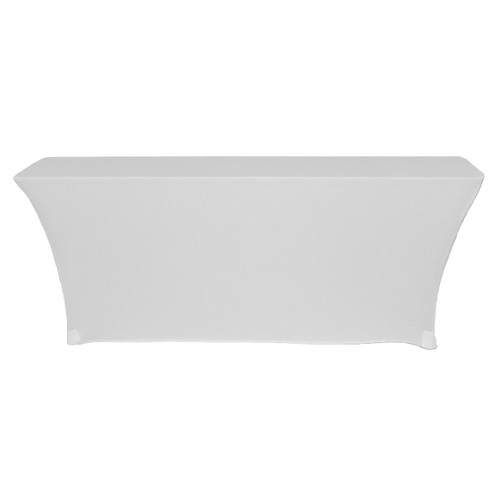 Spandex 6 Ft x 18 Inches Open Back Rectangular Table Covers White