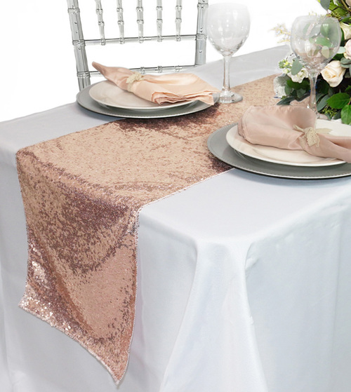 14 x 108 Inch Glitz Sequin Table Runner Blush