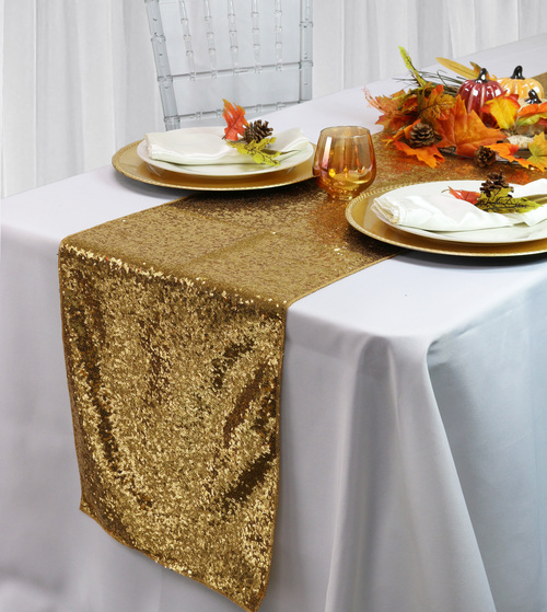 14 x 108 inch Glitz Sequin Table Runners Gold