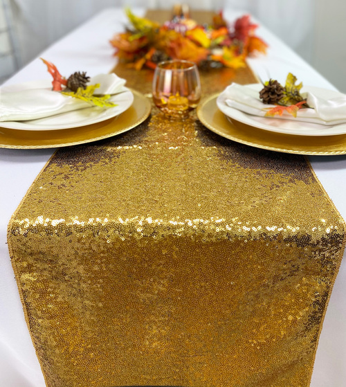 14 x 108 Inch Glitz Sequin Table Runner Gold
