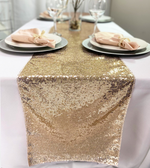 14 x 108 Inch Glitz Sequin Table Runner Champagne