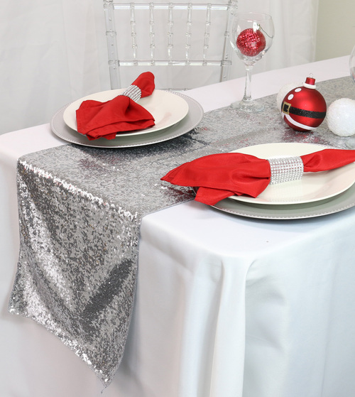 14 x 108 inch Glitz Sequin Table Runners Silver