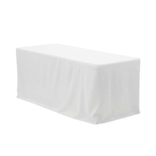 8 ft. Fitted Polyester Tablecloth Rectangular White