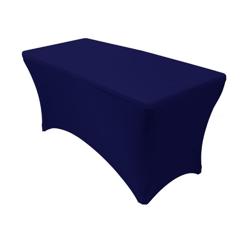Stretch Spandex 4 ft Rectangular Table Cover Navy Blue