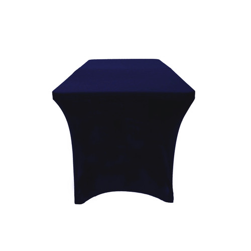 Stretch Spandex 6 ft Open Back Rectangular Table Cover Navy Blue