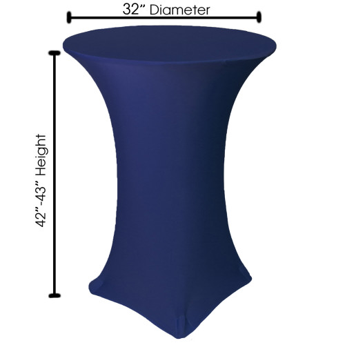 32 inch Highboy Cocktail Round Stretch Spandex Table Covers Navy Blue For Weddings