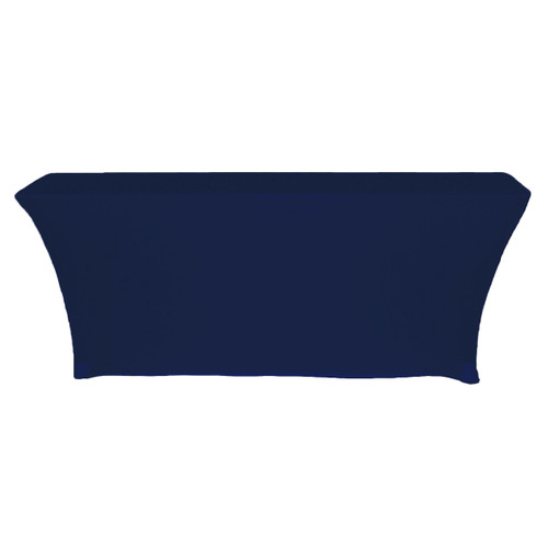 Spandex 6 Ft x 18 Inches Open Back Rectangular Table Covers Navy Blue back view
