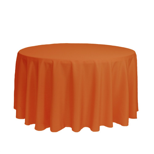 120 inch Round Polyester Tablecloths Orange