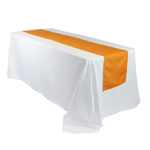 Polyester Table Runner Orange on rectangular table
