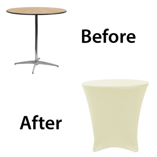 30 x 30 inch Lowboy Cocktail Round Stretch Spandex Table Covers Ivory Before After