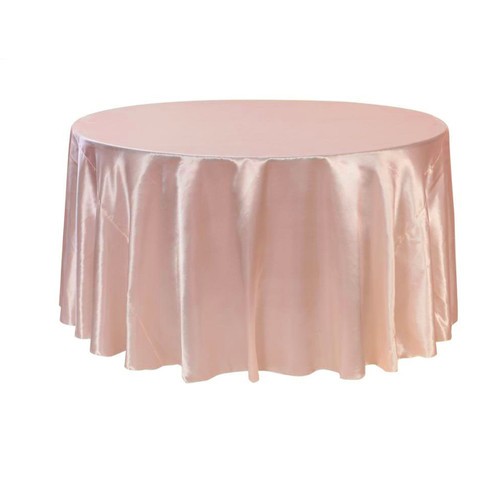 120 inch Round Satin Tablecloths Blush