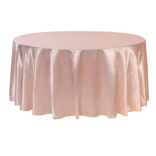 132 Inch Round Satin Tablecloth Blush