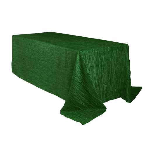 90 x 132 inch Rectangular Crinkle Taffeta Tablecloth Hunter Green