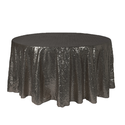 120 Inch Round Glitz Sequin Tablecloth Black