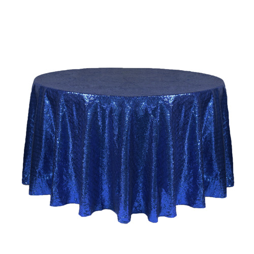 120 inch Round Glitz Sequin Tablecloth Navy Blue