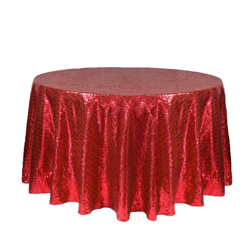 120 inch Round Glitz Sequin Tablecloth Red