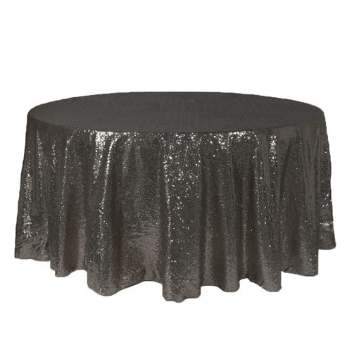 132 Inch Round Glitz Sequin Tablecloth Black